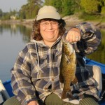 Sue and Smallmouth Bass - Island Lake 2012
